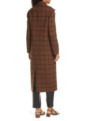 Nanushka Lana Check Double Breasted Wool Blend Coat