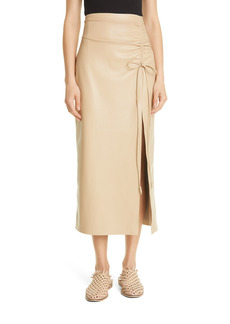 Nanushka Malorie Side Ruched Faux Leather Pencil Skirt