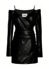 Nanushka Moha Off-The-Shoulder Vegan Leather Dress
