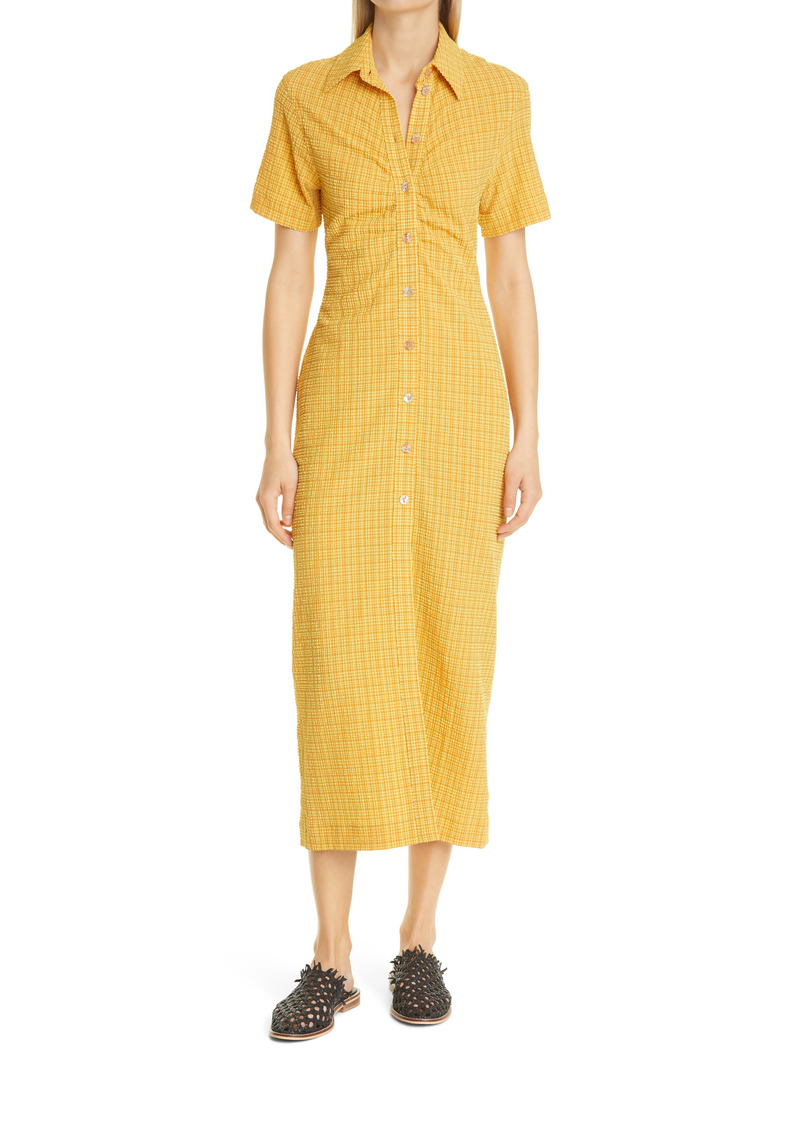 Nanushka Sabri Check Short Sleeve Shirtdress