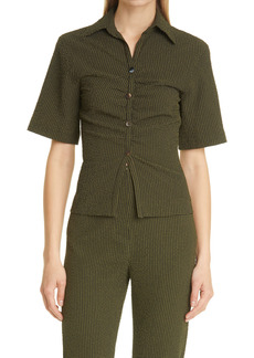 Nanushka Saff Puckered Check Button-Up Shirt