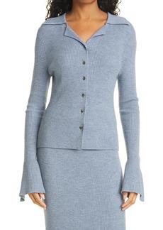Nanushka Sid Rib Wool Blend Cardigan Sweater