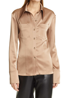 Nanushka Tippi Satin Long Sleeve Button-Up Blouse