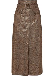 Nanushka Woman Aarohi Belted Snake-effect Vegan Leather Midi Skirt Animal Print