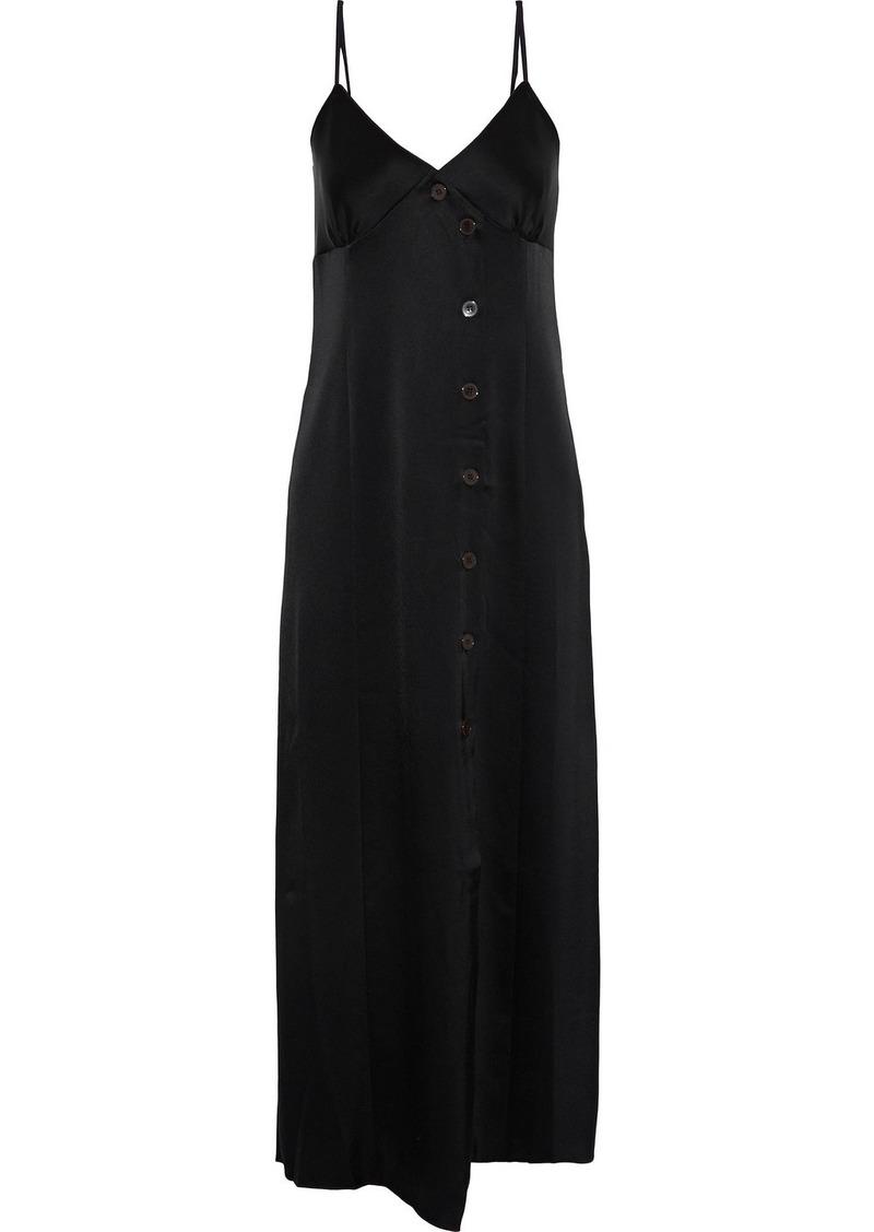 Nanushka Woman Ancens Button-detailed Charmeuse Midi Slip Dress Black