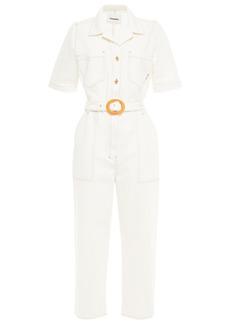 Nanushka Woman Arlo Belted Denim Jumpsuit White