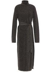 Nanushka Woman Belted Metallic Knitted Turtleneck Midi Dress Black