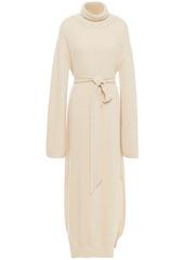 Nanushka Woman Belted Ribbed-knit Turtleneck Maxi Dress Cream