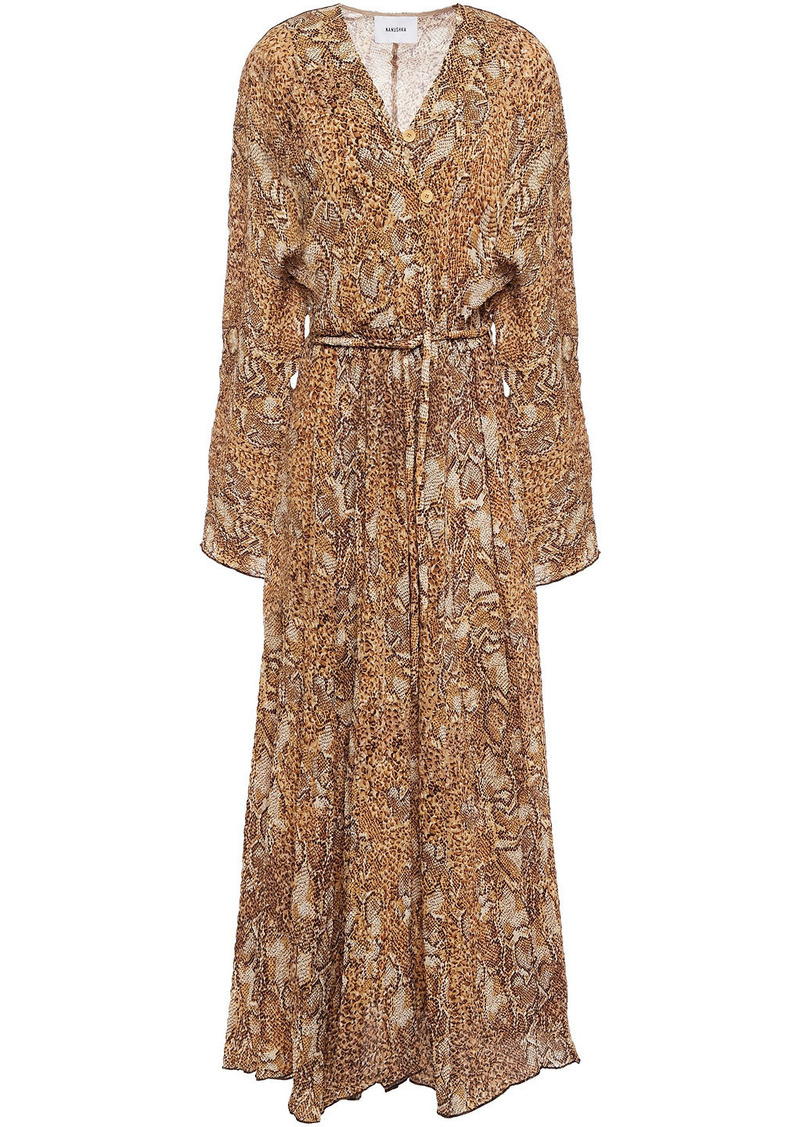 Nanushka Woman Chul Printed Crinkled-crepe Maxi Dress Light Brown