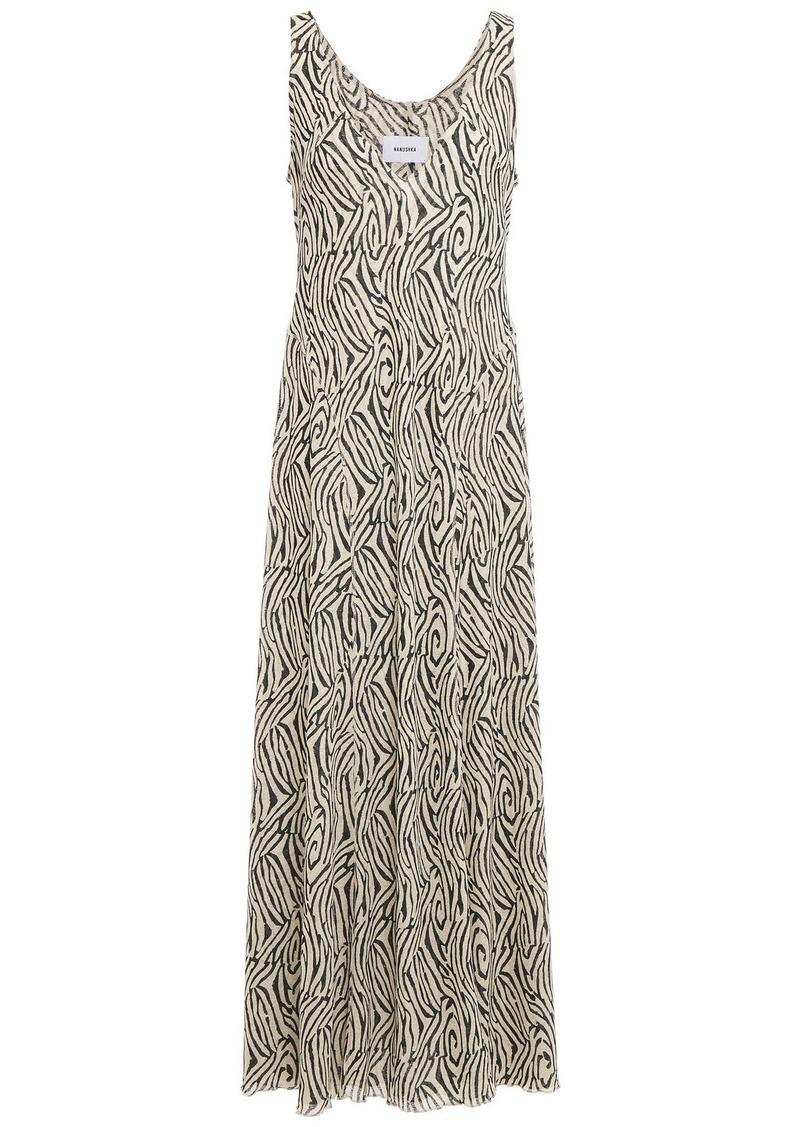 Nanushka Woman Corinne Zebra-print Jersey Maxi Dress Animal Print