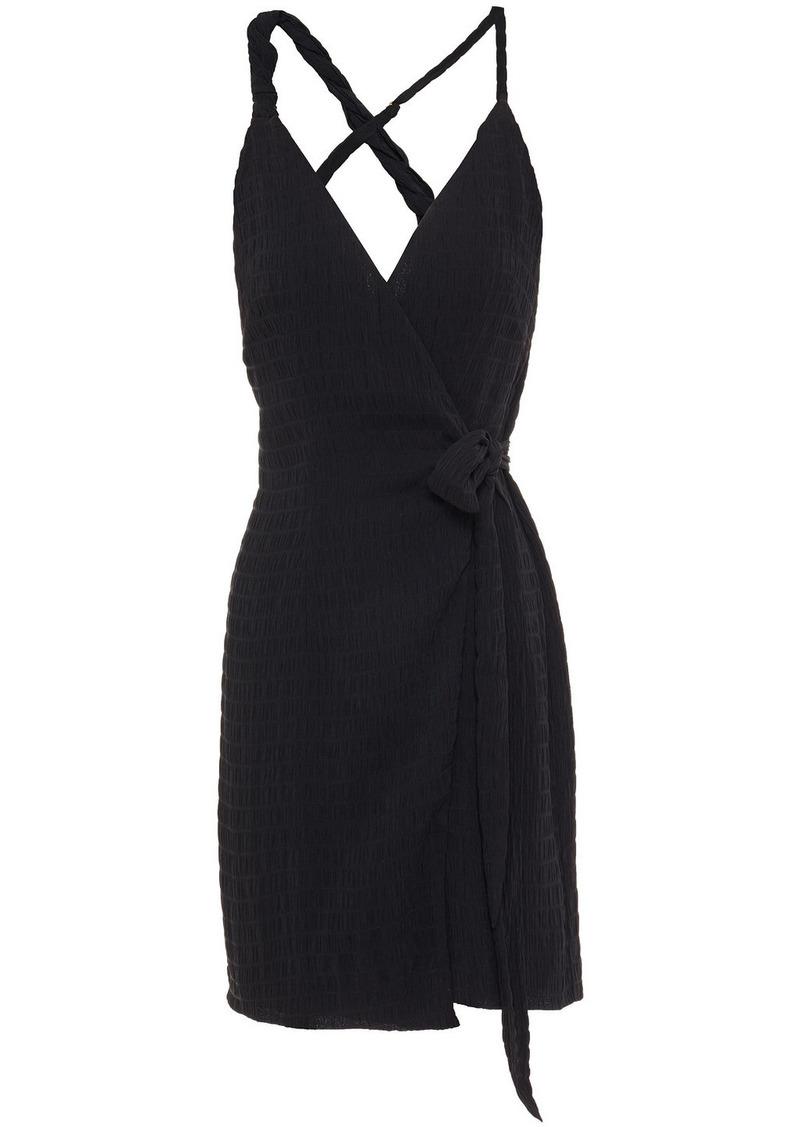 Nanushka Woman Deja Twisted Cloqué Mini Wrap Dress Black