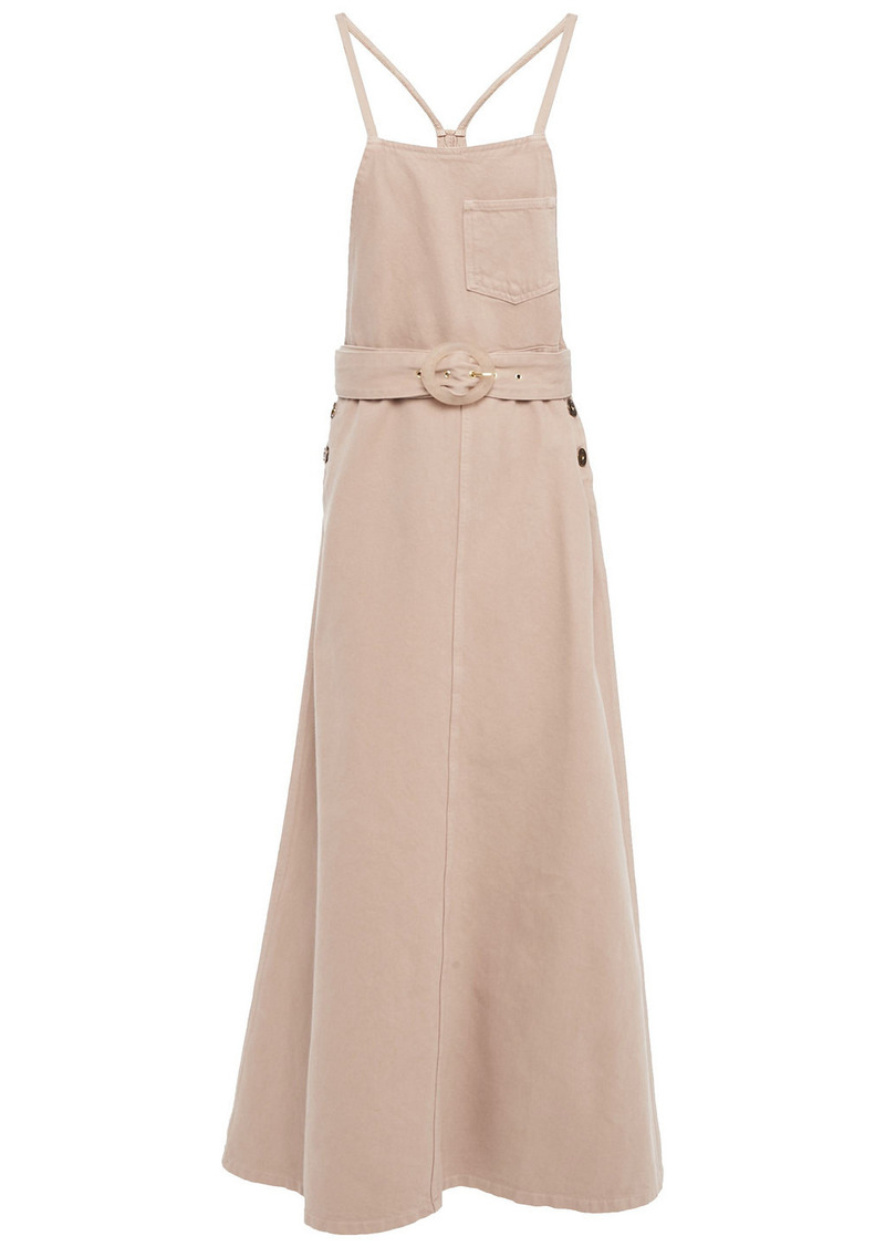Nanushka Woman Estelle Belted Denim Midi Dress Sand