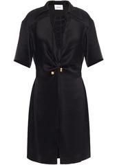Nanushka Woman Etta Lace-up Crinkled Washed-satin Shirt Dress Black