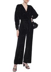 Nanushka Woman Jax Wrap-effect Devoré-velvet Jumpsuit Black