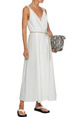 Nanushka Woman Lilith Vegan Leather-trimmed Pleated Cotton-poplin Maxi Wrap Dress White