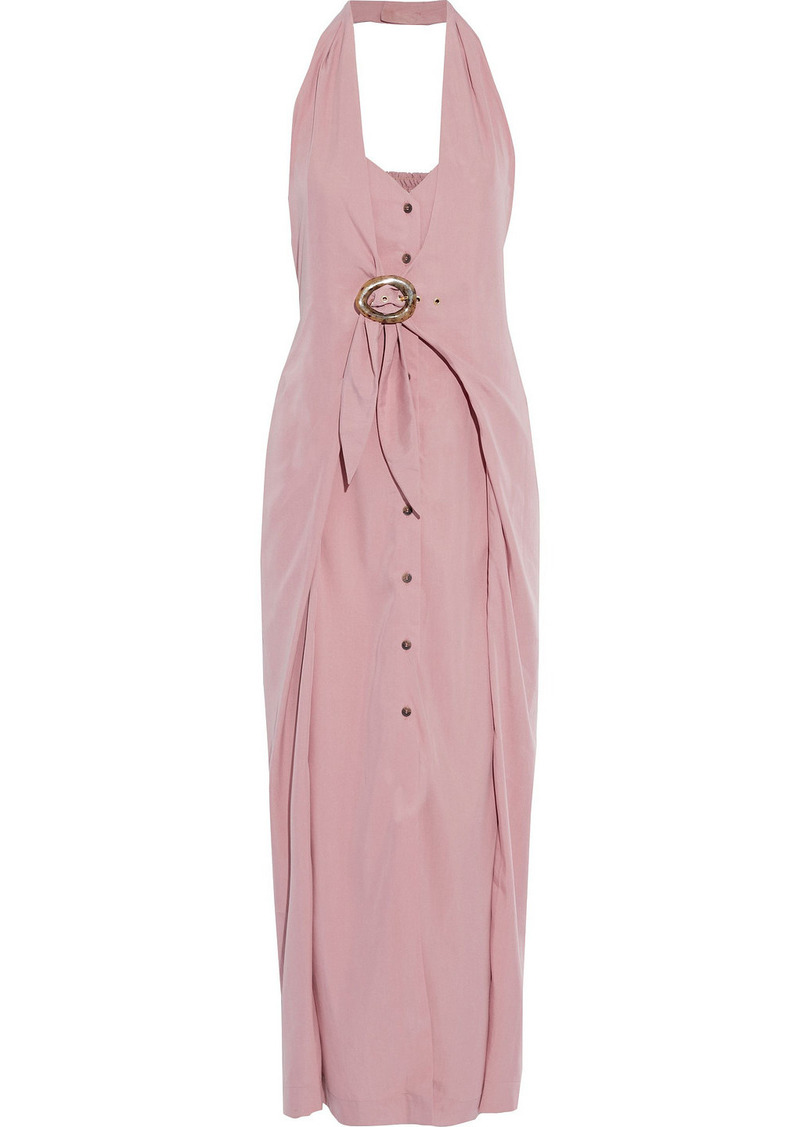 Nanushka Woman Liya Layered Buckled Broadcloth Halterneck Maxi Dress Pink