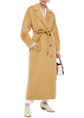 Nanushka Woman Loane Belted Wool And Silk-blend Felt Coat Camel
