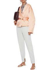 Nanushka Woman Mantra Belted Crinkled Washed-satin Padded Jacket Peach