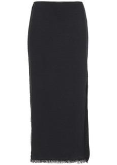 Nanushka Woman Moja Vegan Leather-trimmed Cotton-blend Bouclé Midi Skirt Black