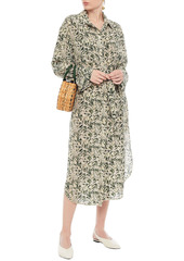 Nanushka Woman Mona Belted Printed Silk-crepe Midi Shirt Dress Cream