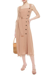 Nanushka Woman Moun Frayed Woven Midi Dress Light Brown