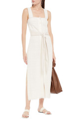 Nanushka Woman Rita Vegan Leather-trimmed Cotton-blend Cloqué Midi Dress Ivory