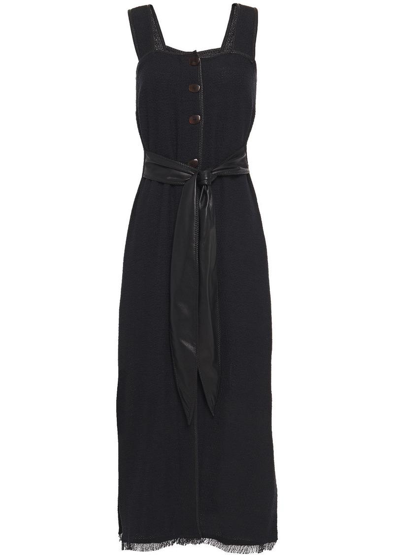 Nanushka Woman Rita Vegan Leather-trimmed Frayed Cotton-blend Midi Dress Black