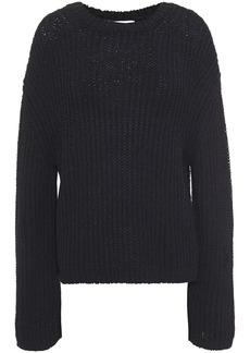 Nanushka Woman Saio Split-back Ribbed Cotton-blend Sweater Black