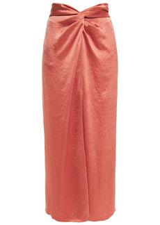 Nanushka Woman Samara Twist-front Washed-satin Midi Skirt Antique Rose
