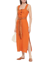 Nanushka Woman Vegan Leather-trimmed Cotton-blend Cloqué Midi Dress Orange