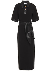 Nanushka Woman Vegan Leather-trimmed Crepe Maxi Dress Black