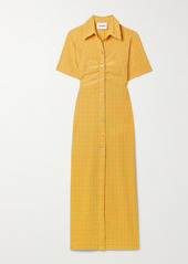 Nanushka Net Sustain Sabri Ruched Checked Seersucker Shirt Dress