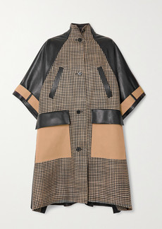 Nanushka Nyree Houndstooth Tweed, Gabardine And Leather Coat