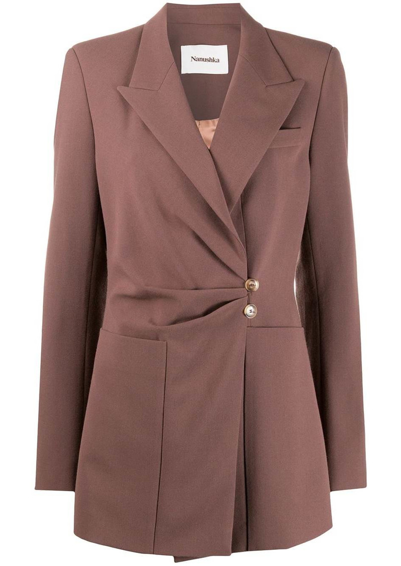 Nanushka off-center button fitted jacket