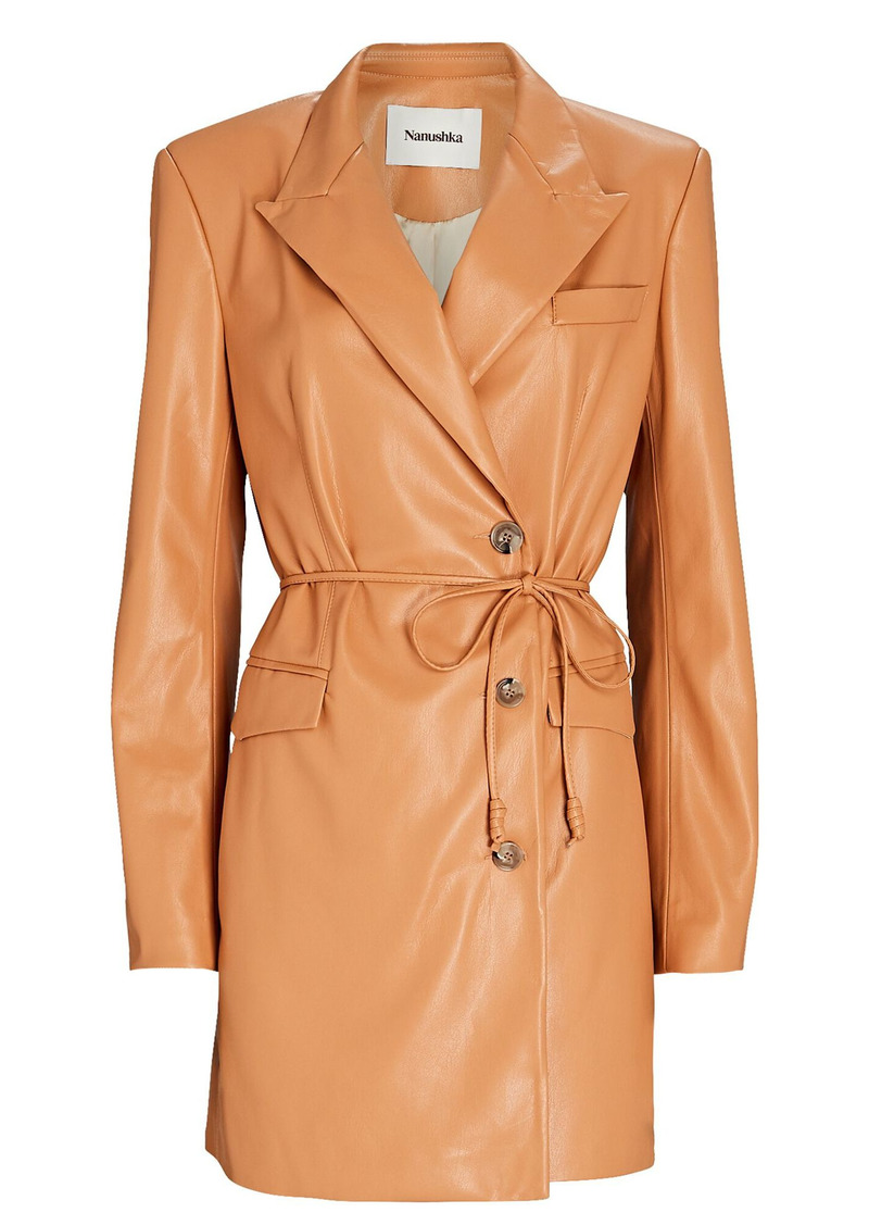 Nanushka Remi Vegan Leather Blazer Dress
