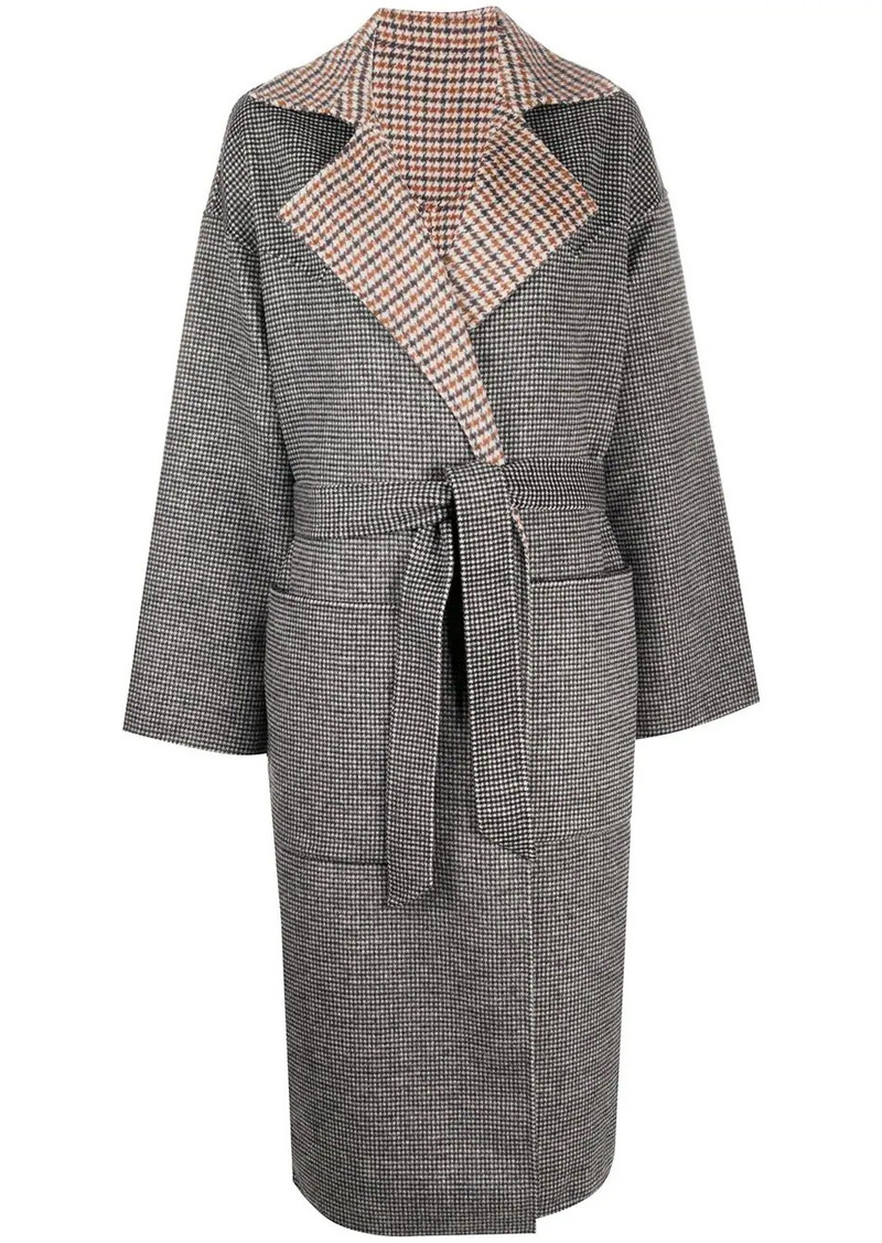 Nanushka reversible check coat