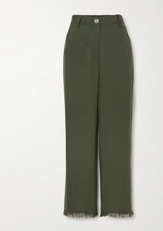 Nanushka Theo Frayed Woven Straight-leg Pants