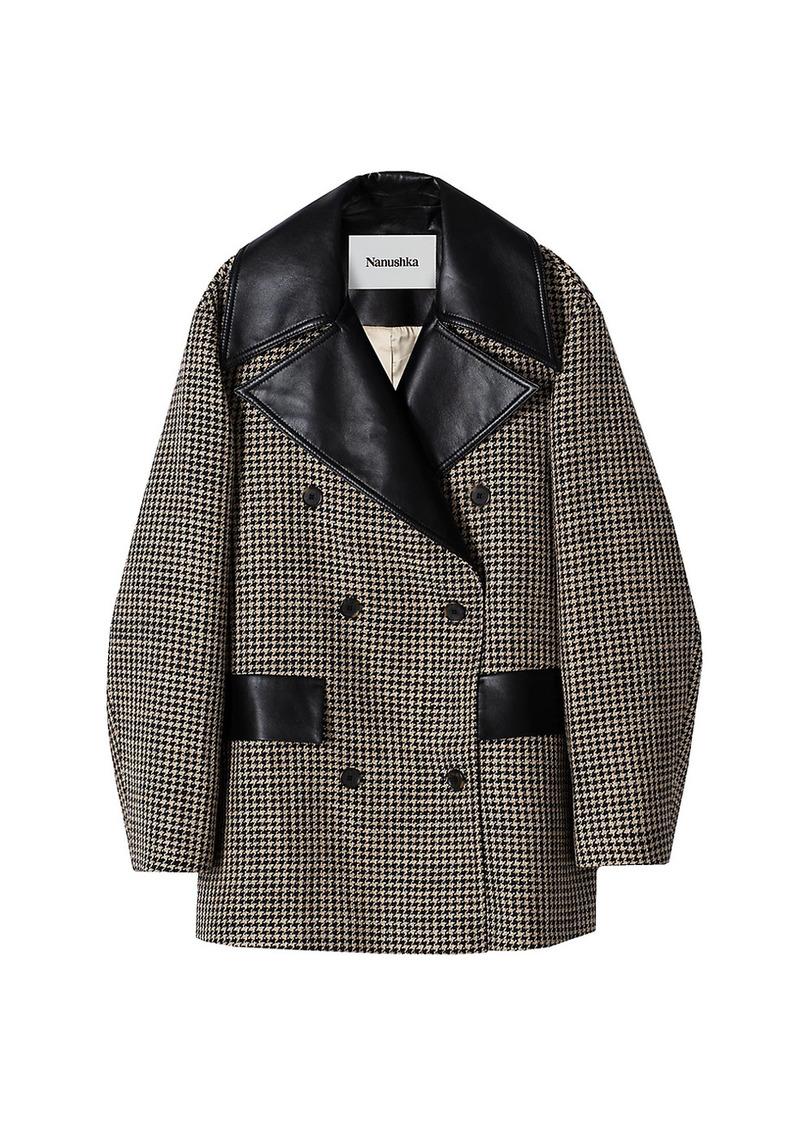 Nanushka Tommi Houndstooth Vegan Leather Coat