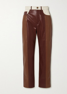 Nanushka Vinni Cropped Color-block Vegan Leather Straight-leg Pants