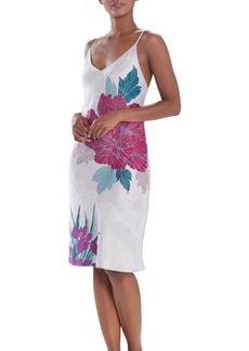Natori Jubako Floral Print Satin Nightgown