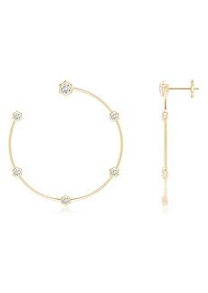Natori Fine Jewelry Side Facing Medium Hexagonal Diamond Hoop Earrings