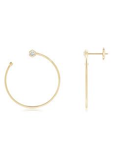 Natori Fine Jewelry Small Side Facing Hexagonal Diamond Hoop Earrings