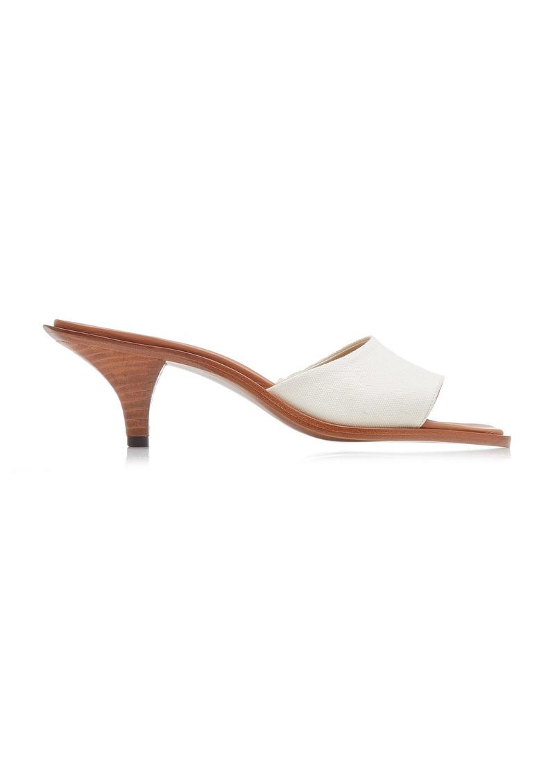 Neous - Women's Cygnus Canvas-Trimmed Leather Sandals - White - Moda Operandi