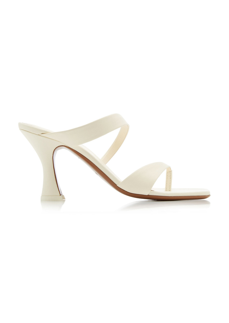 Neous - Women's Sika Leather Sandals - White/black - Moda Operandi