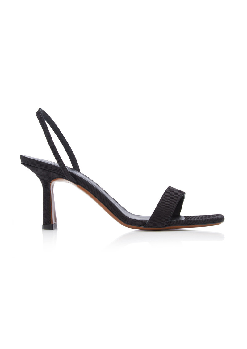 Neous - Women's Tulip Grosgrain Leather Slingback Sandals - Black - Moda Operandi