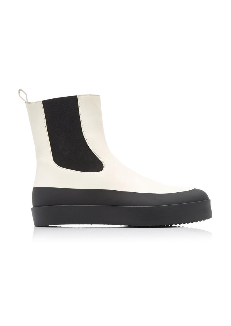 Neous - Women's Zaniah Platform Leather Ankle Boots - White/black - Moda Operandi