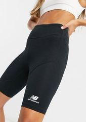 New Balance short leggings with metallic logo in black