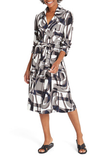 NIC + ZOE NIC+ZOE Alphabet Print Long Sleeve Trench Coat Dress