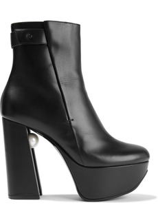 Nicholas Kirkwood Woman Miri Faux Pearl-embellished Leather Platform Ankle Boots Black