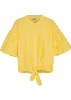 Nicholas Woman Alina Tie-front Cotton And Silk-blend Top Yellow